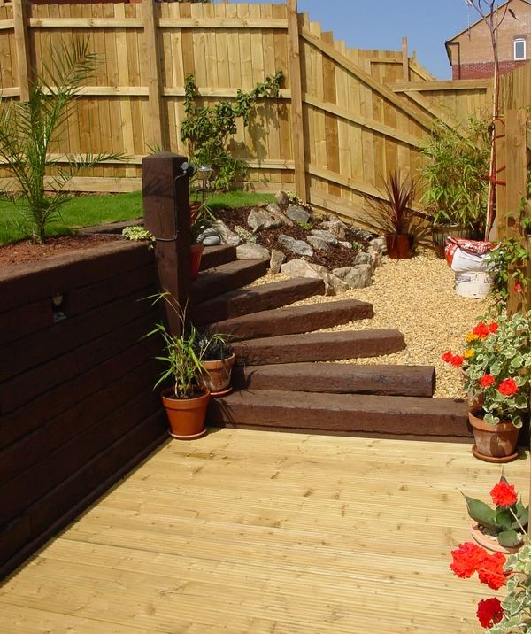 patio decking railway sleeper steps garden decorating ideas