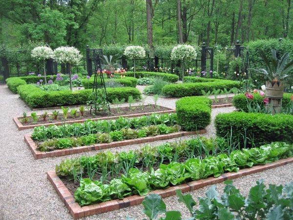 potager garden design brick edging pea gravel vegetable garden design