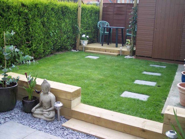 Railway Sleepers Small Garden Design Ideas Patio Deck