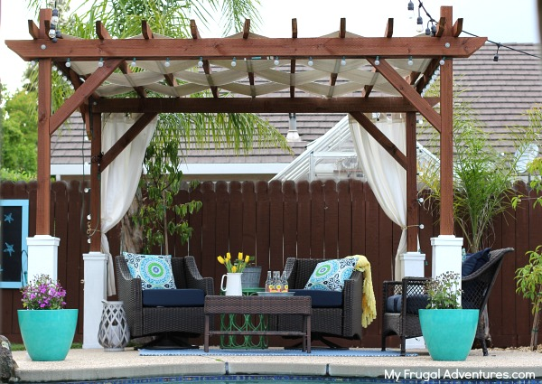 DIY pergola with curtains (via myfrugaladventures)