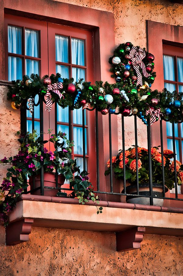 This was our first Disney trip during the Christmas season.  I really enjoyed seeing all the decorations around the parks.  I used Topaz Adjust on this balcony to bring out some of the color and texture.